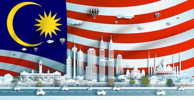 Architettura dei punti di riferimento di viaggio della malesia a kuala lumpur con l'illustrazione del taglio della carta patinata di carta origami