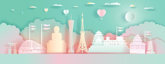 Punti di riferimento di viaggio architettura del giappone con palloncini di amore. stile di taglio della carta.