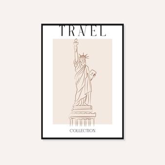 Viaggi e punti di riferimento minimal illustrazione vettoriale wall art poster design