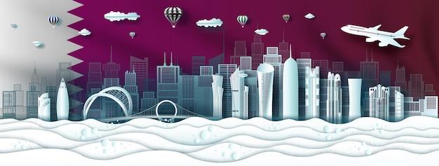 Punti di riferimento di viaggio architettura moderna qatar nel centro della famosa città di doha