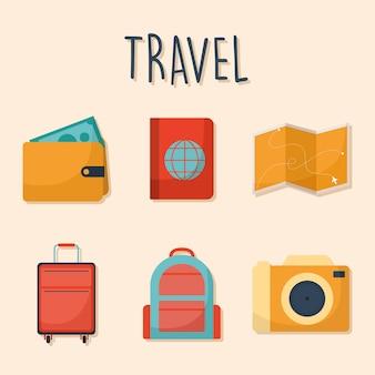 Lettering di viaggio con set di icone di viaggio