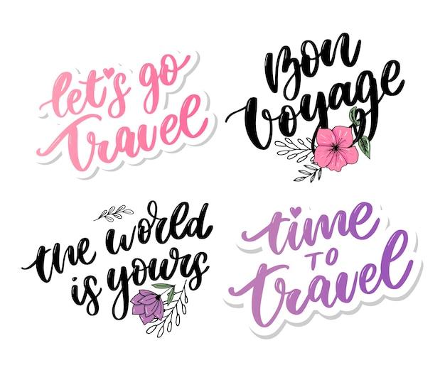 Lettering di citazioni di ispirazione di vita di viaggio. tipografia motivazionale.