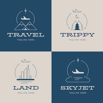 Design della collezione di logo di viaggio