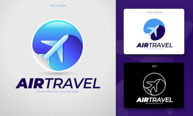 Concetto di logo di viaggio con un mondo stilizzato e un aeroplano in vettoriale modificabile
