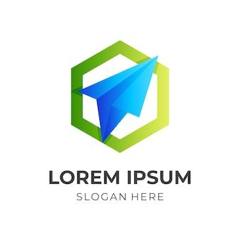 Logo di viaggio, aereo di carta ed esagono, logo combinato con stile di colore verde e blu 3d