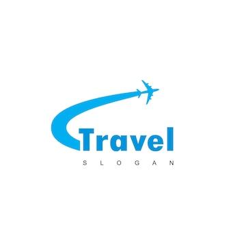 Logo di viaggio con simbolo dell'aereo