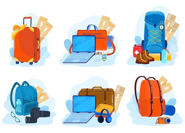 Bagagli da viaggio, valigie, zaini, set di pacchetti di illustrazione isolata.