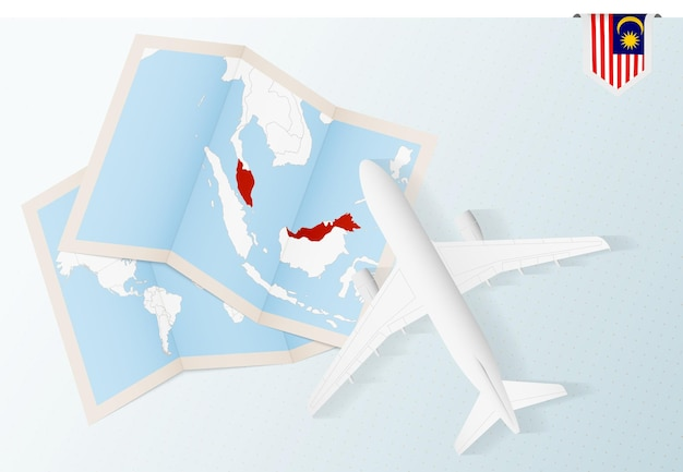 Viaggio in malesia, aereo vista dall'alto con mappa e bandiera della malesia.