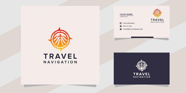 Modello di logo di navigazione di viaggio