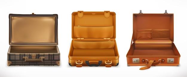Viaggio. valigia aperta. set di icone