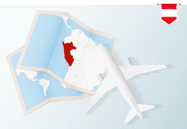 Viaggio in perù, aereo vista dall'alto con mappa e bandiera del perù.