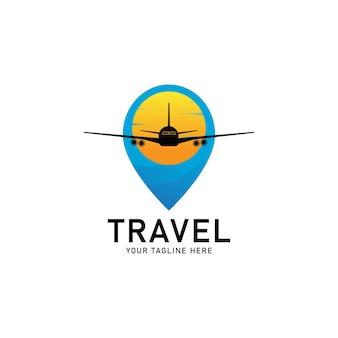 Modello di logo del punto di viaggio