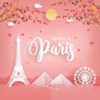 Cartolina di viaggio con autunno a parigi