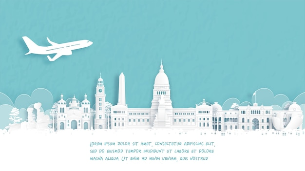 Poster di viaggio con welcome to bueno aires, famoso punto di riferimento in argentina