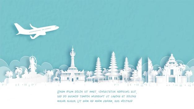 Manifesto di viaggio con il punto di riferimento famoso di benvenuto a denpasar, bali, indonesia nell'illustrazione di stile del taglio della carta.