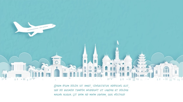 Manifesto di viaggio con il punto di riferimento famoso di benvenuto a ho chi minh city, vietnam nell'illustrazione di vettore di stile del taglio della carta.