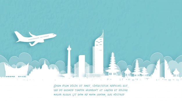 Poster di viaggio con benvenuto in indonesia