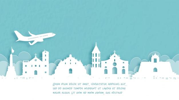 Poster di viaggio con benvenuto nelle filippine.