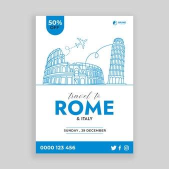 Viaggio a roma composizione minima e semplice con illustrazione vettoriale di line art