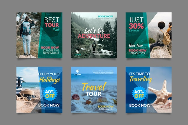 Raccolta di post di instagram di vendita di viaggio