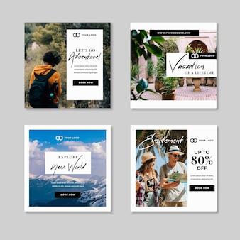 Collezione di post di instagram di vendita di viaggi Vettore Premium
