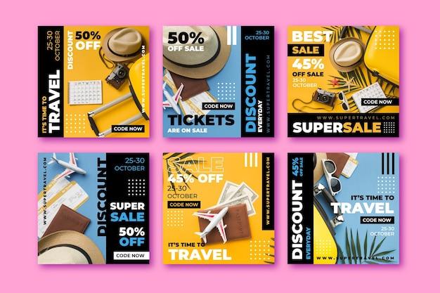 Raccolta di post di instagram di vendita di viaggi