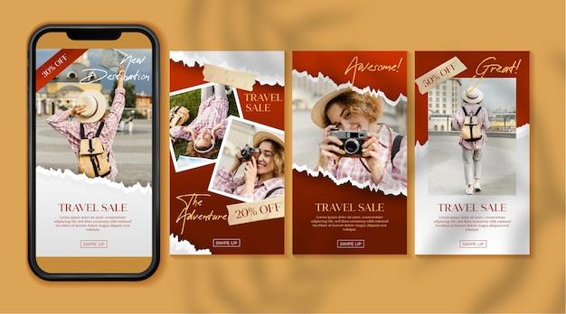 Collezione di storie di instagram di vendita di viaggi