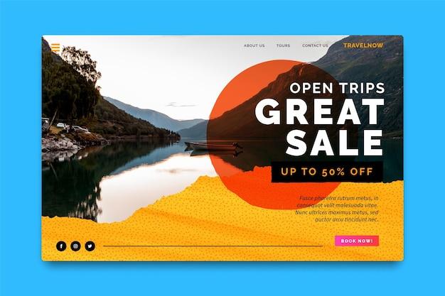 Modello di pagina di destinazione di vendita di viaggi con foto