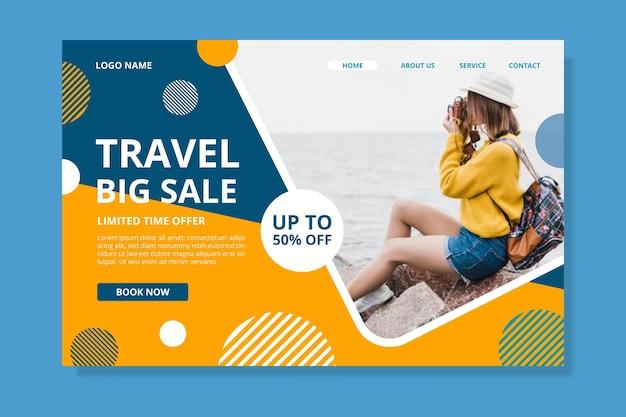 Pagina di destinazione della vendita di viaggi con foto