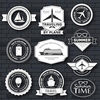 Set da viaggio modello di etichetta dell'elemento emblema per il tuo prodotto o design