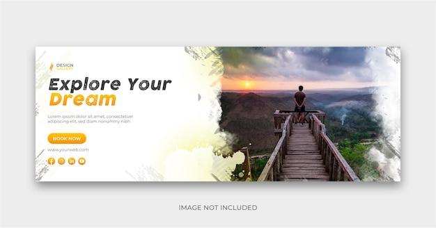 Il design della copertina del banner sociale di viaggio esplora il mondo