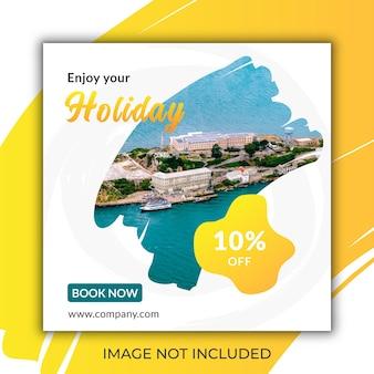 Kit di pubblicità del modello di post banner per social media di viaggio