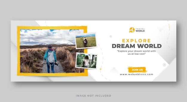 Modello di banner web di copertina di social media di viaggio
