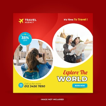 Modello di banner per post sui social media di viaggio per il volantino quadrato di instagram per le vacanze di vacanza in tour