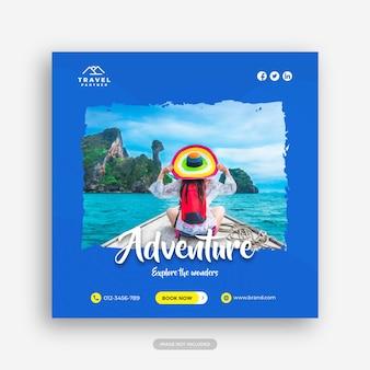 Modello di banner per post sui social media di viaggio per il volantino quadrato delle vacanze delle vacanze turistiche vettore premium