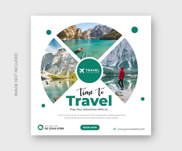 Banner di post sui social media di viaggio o modello di post di instagram per le vacanze in tournée