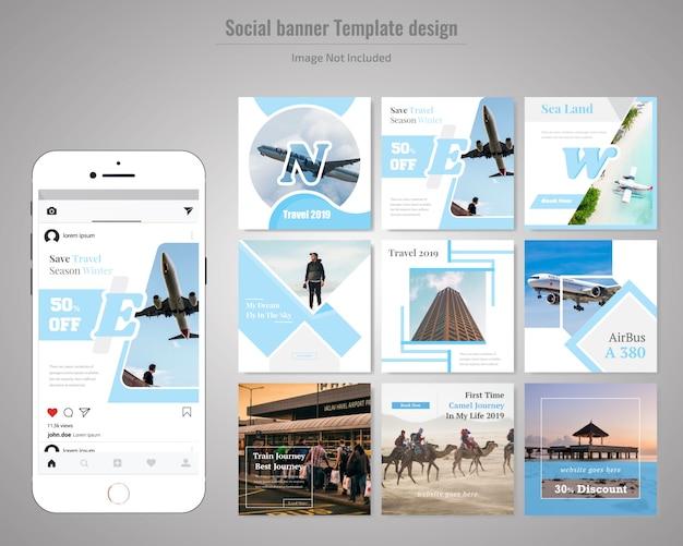Modello di media sociali di viaggio
