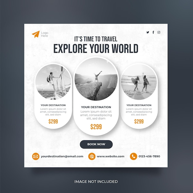 Viaggia banner web post sui social media