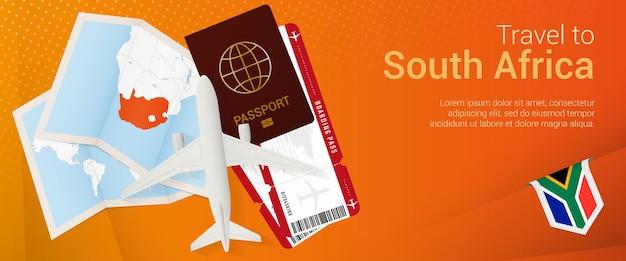 Viaggio in sud africa pop-under banner. banner di viaggio con passaporto, biglietti, aereo, carta d'imbarco