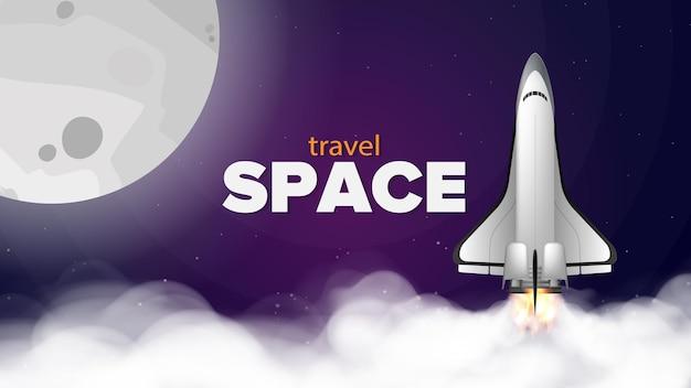 Spazio di viaggio. banner viola sul tema del volo spaziale. space shuttle.
