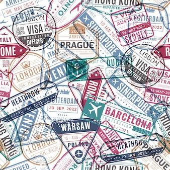Modello di timbro di viaggio. francobolli per visto aeroporto passaporto viaggiatore vintage arrivati. viaggiare in vacanza mondiale seamless texture vettoriale