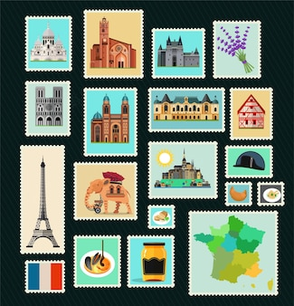 Francobolli di viaggio francia luoghi d'interesse