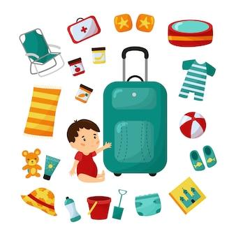 Valigia da viaggio con bambino. viaggio in spiaggia con bambino. elementi essenziali della lista di controllo.