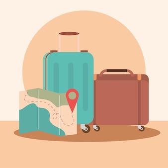 Valigie da viaggio e mappa