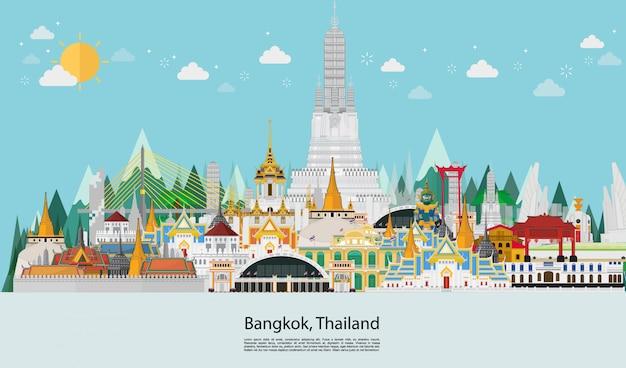 Viaggio in thailandia punto di riferimento e palazzo di viaggio Vettore Premium