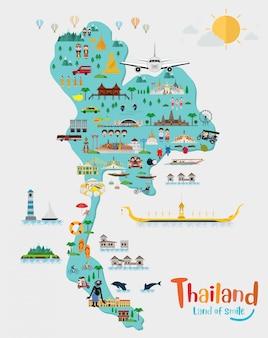 Viaggia in thailandia e thailandia mappa, luoghi d'interesse e luogo di viaggio, tempio Vettore Premium