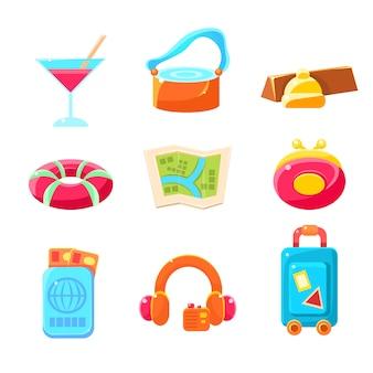 Icone semplificate variopinte degli oggetti di tema di viaggio