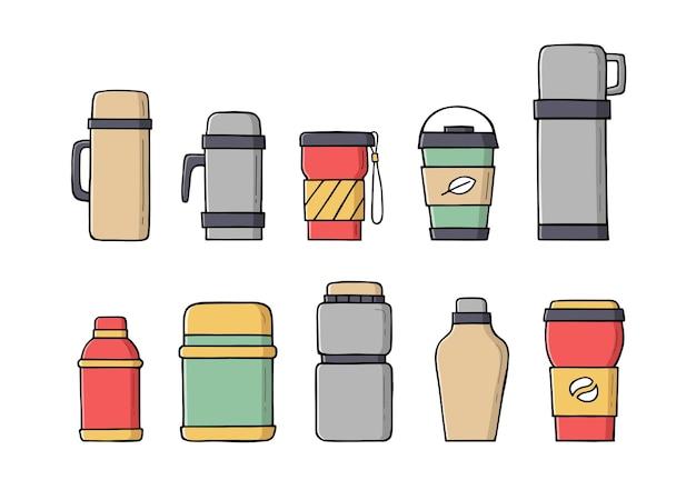 Tazze termiche da viaggio a colori, tazze riutilizzabili per bevande calde in stile doodle.
