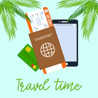 Poster di viaggio tempo quadrato vettoriale con calligrafia.
