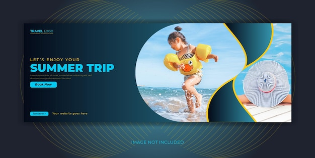 Banner di copertina di facebook per post sui social media dell'agenzia di viaggi